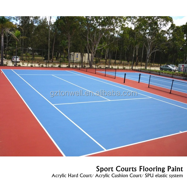 High performances Customized color Acrylic cushion system sports flooring concrete/asphalt base
