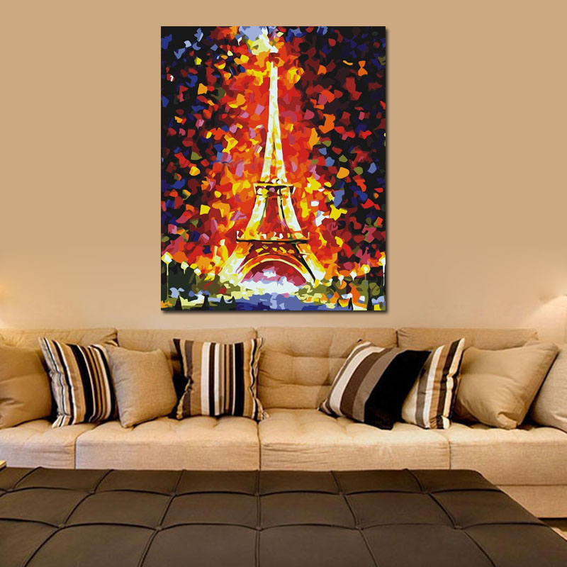 Frameless DIY Painting Eiffel Tower Painting By Numbers