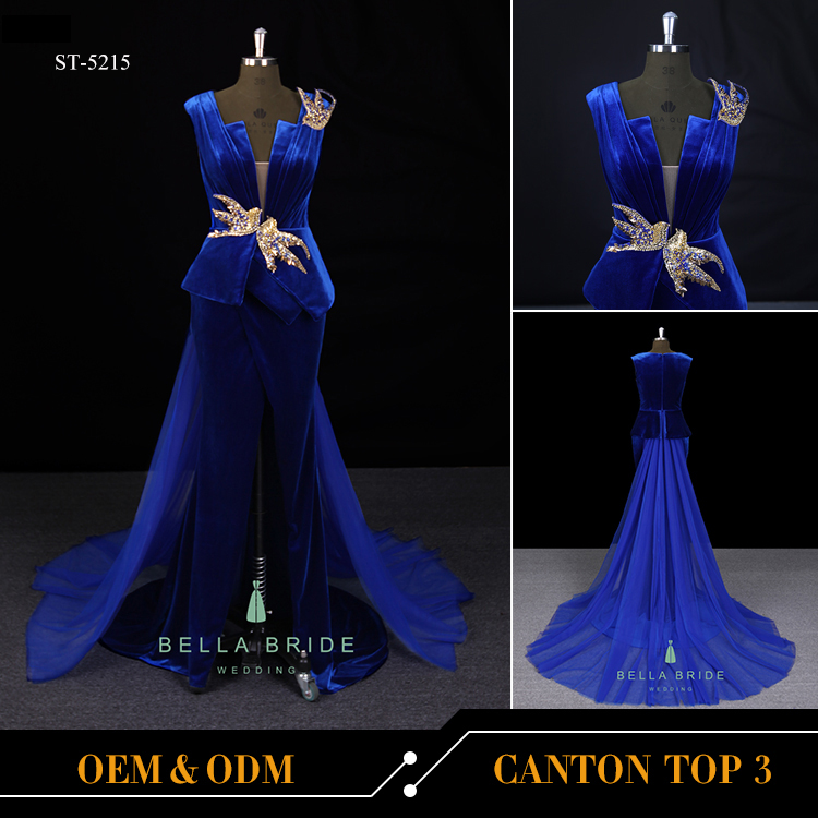 Royal blue dresses women evening party gown velvet prom dress long sexy revealing evening dress gowns