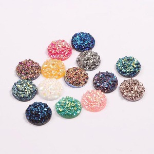 3D Shinning Elegant Women DIY Jewelry Findings 12mm Round Flat Back Faux Druzy Resin Cabochons