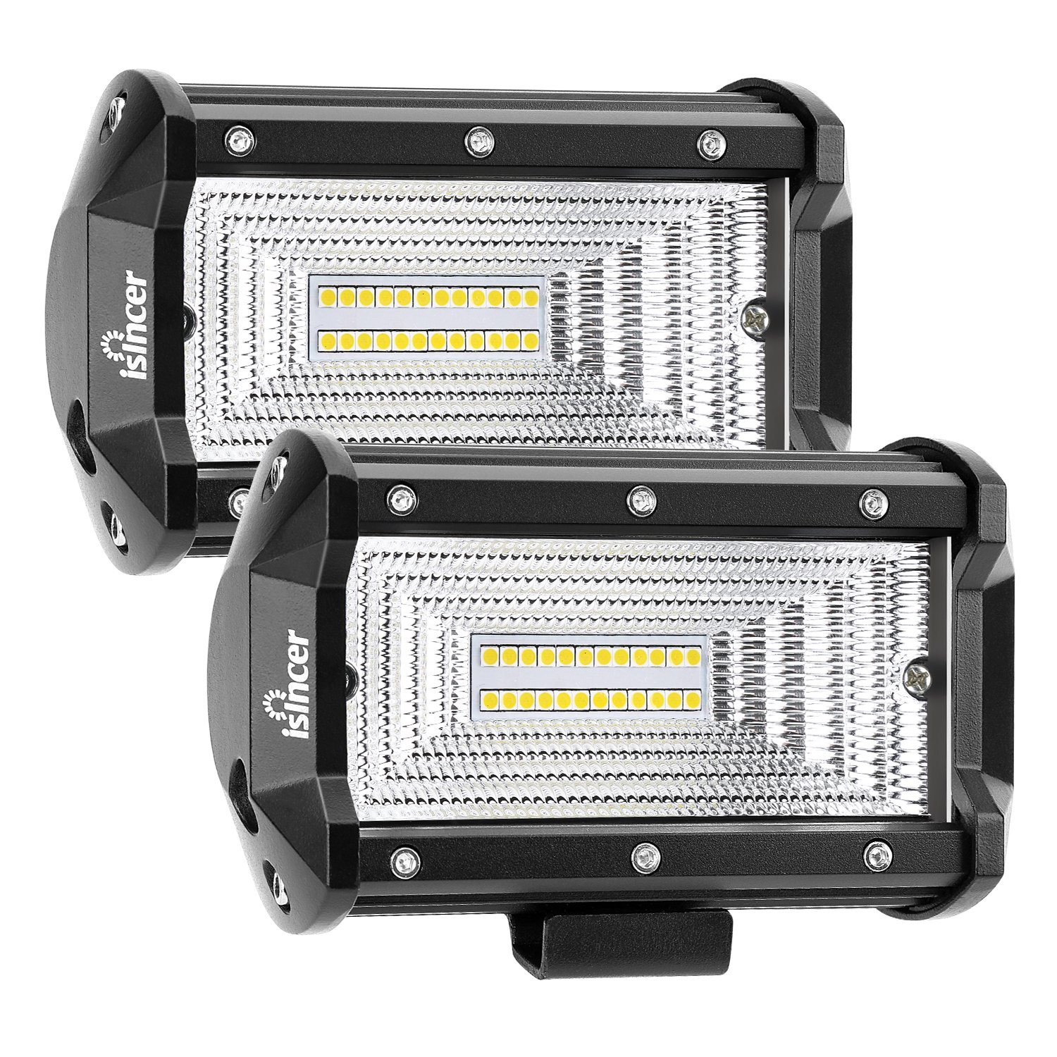 Flood Led Light Bar 2Pcs 72W 5 Inch Led Work Lights for Truck Waterproof Led Pods Car Led Driving Backup Lights for Off Road Jeep SUV Boat Motorcycle