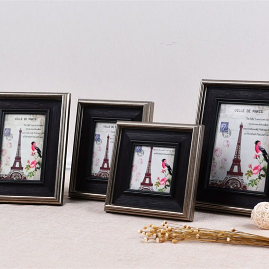 Home decor Retro black Wood Effect Various Square Sizes paris photo picture frames