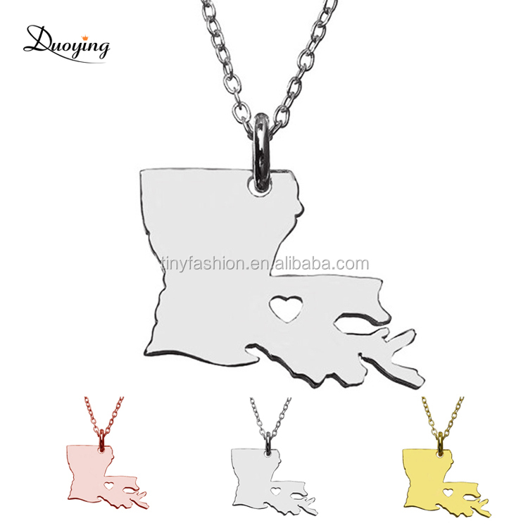 N014 Jewelry Factory Gold/Rose Gold/White Gold 1pc wholesale bulk Stainless Steel Necklace Louisiana State Custom Pendant фото