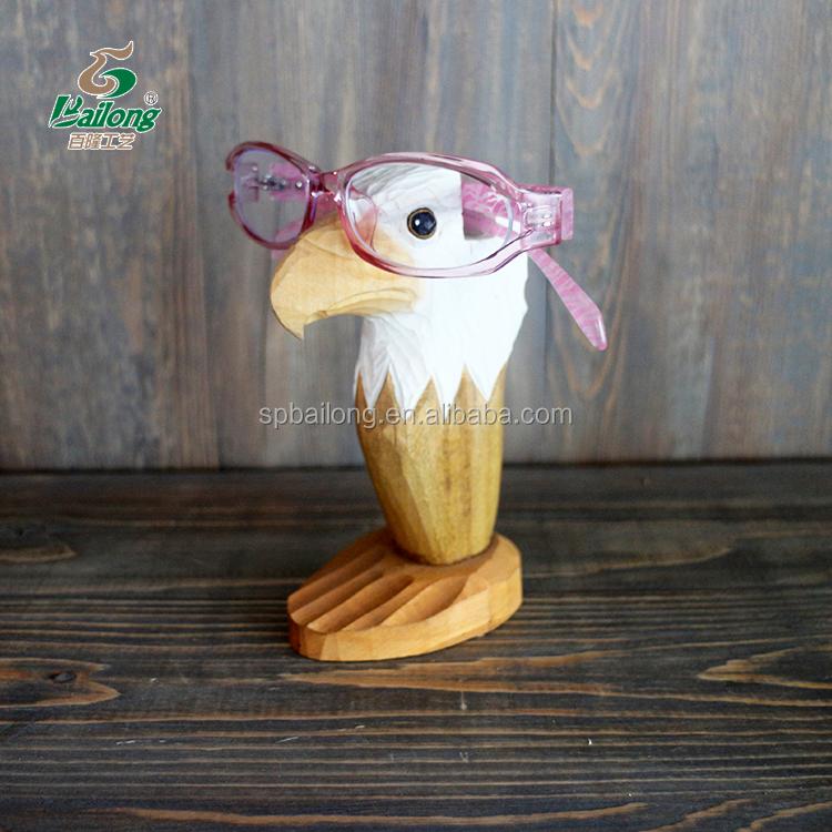 Decorative wood carving animal shaped wooden eyeglasses holder