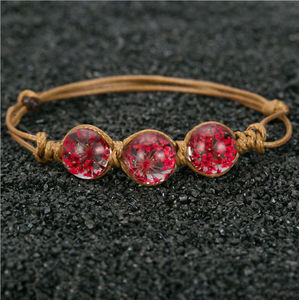 bulk buy from china Handmade DIY Dried Flower Glass Ball Bracelets