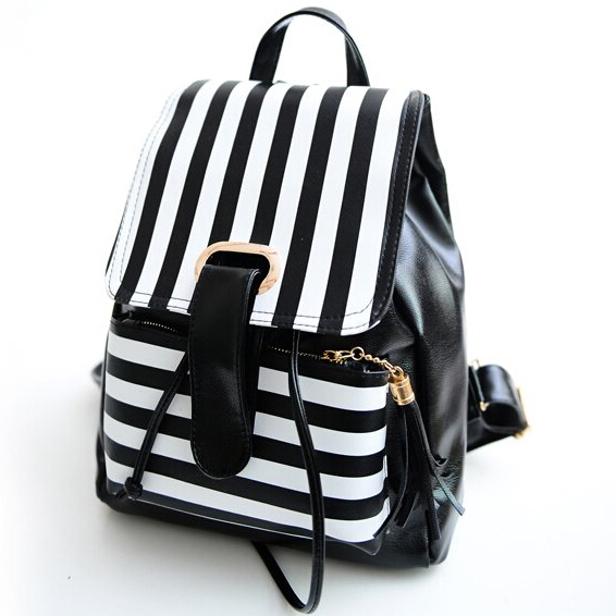 Get Quotations · 2015 Fashion Women Leather Backpacks Tassel Striped Print School  Bags For Teenagers Girls Travel Bag Schoolbags 3979fb8945aab