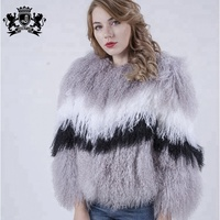 custom variety of mix color garment wholesale price winter girl overcoat female lamb fur coat