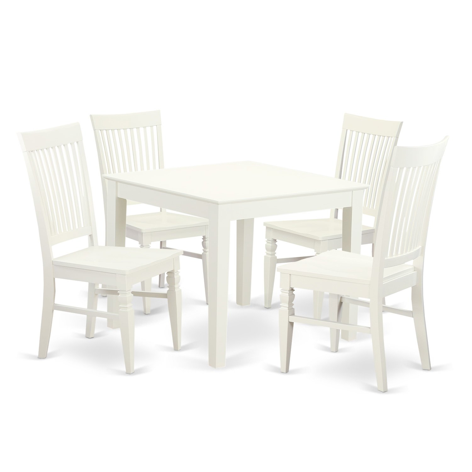 East West Furniture OXWE5-LWH-W 5 Piece Oxford Square Kitchen Table and 4 Solid Wood Kitchen Chairs in Linen White Finish