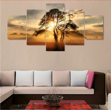 5 panel canvas painting HD Print Sunset tree picture cuadros decoracion wall pictures for living room oil paintings No frame