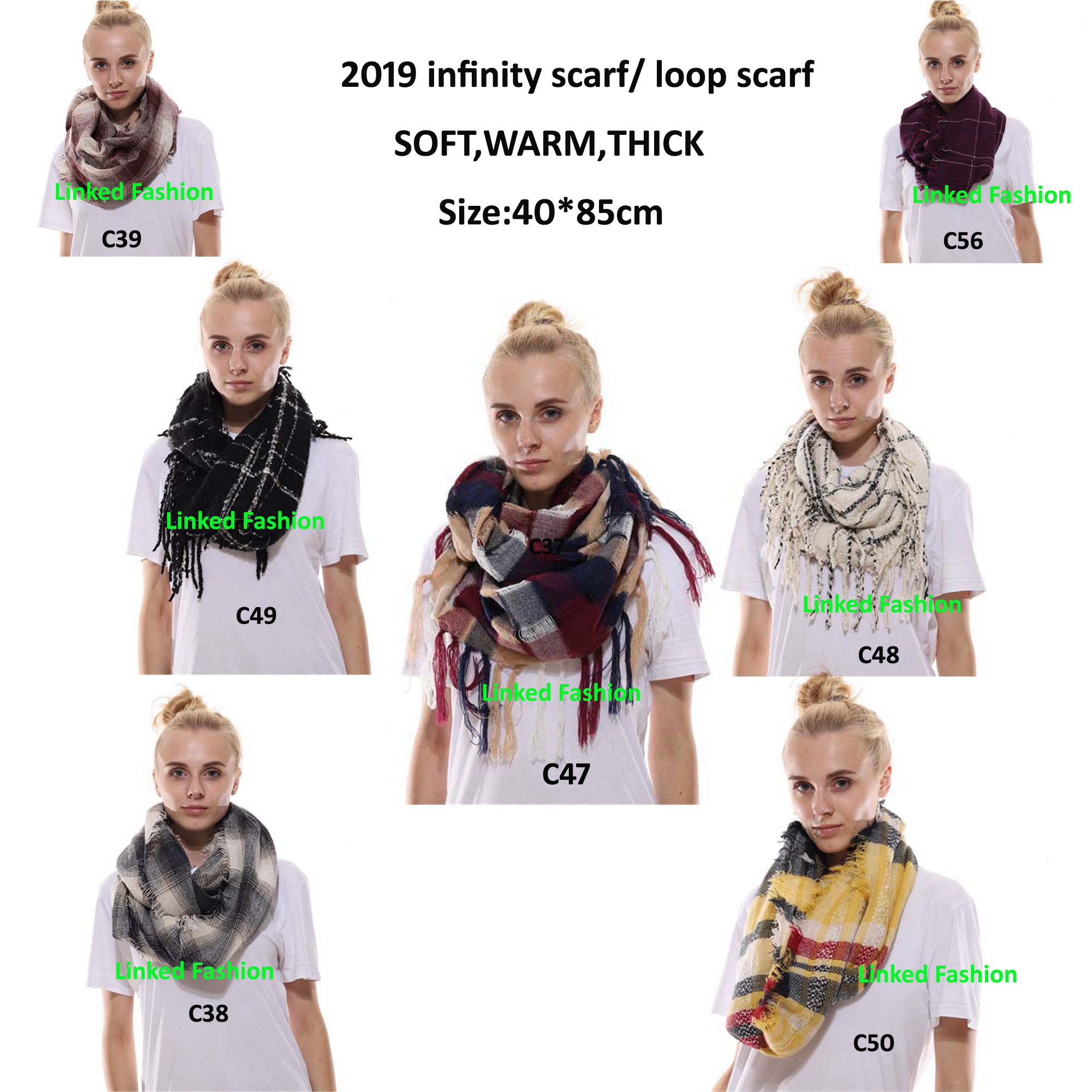 2018 Lady Women Fall Winter Infinity Blanket Oversized Shawl Plaid blanket scarf tartan plaid infinity scarf for gift
