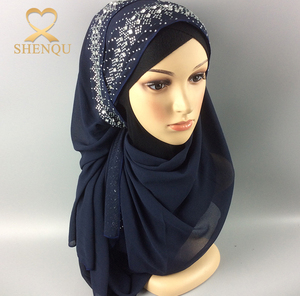 Scarf new 2017 hot fix rhinestone muslim head scarves india hijab fashion scarf malaysia arab hijab with diamond