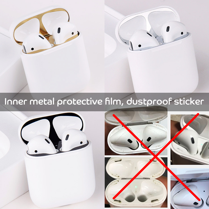 Ultra Thin Skin Protective Cover Dust proof sticker Metal Film for Apple Air pod