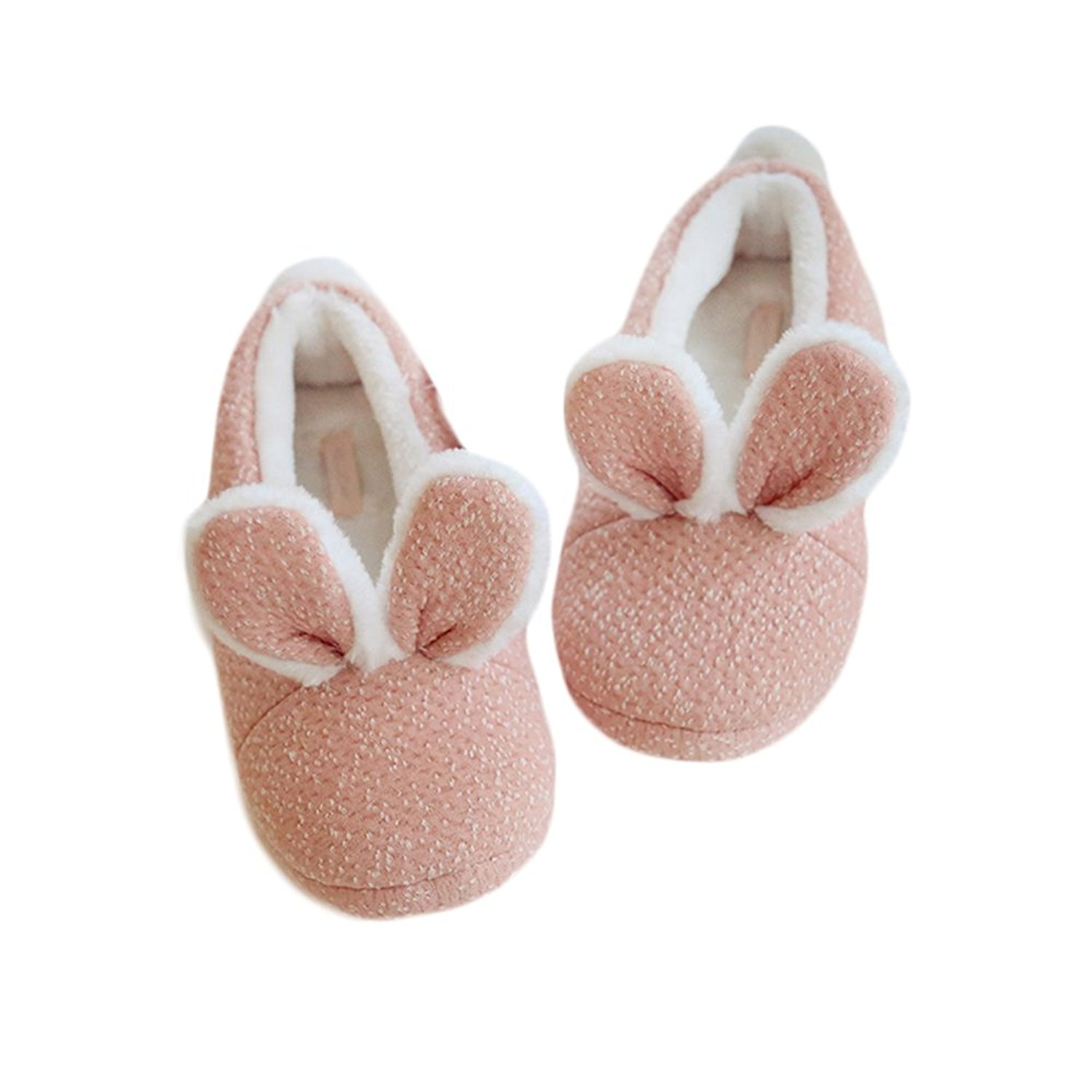 SOCOMP Cute Pink Bunny Rabbit Plush Furry Warm Cozy House Winter Slippers Indoor Shoes for Bedroom Kitchen Dining Room for Girls Women