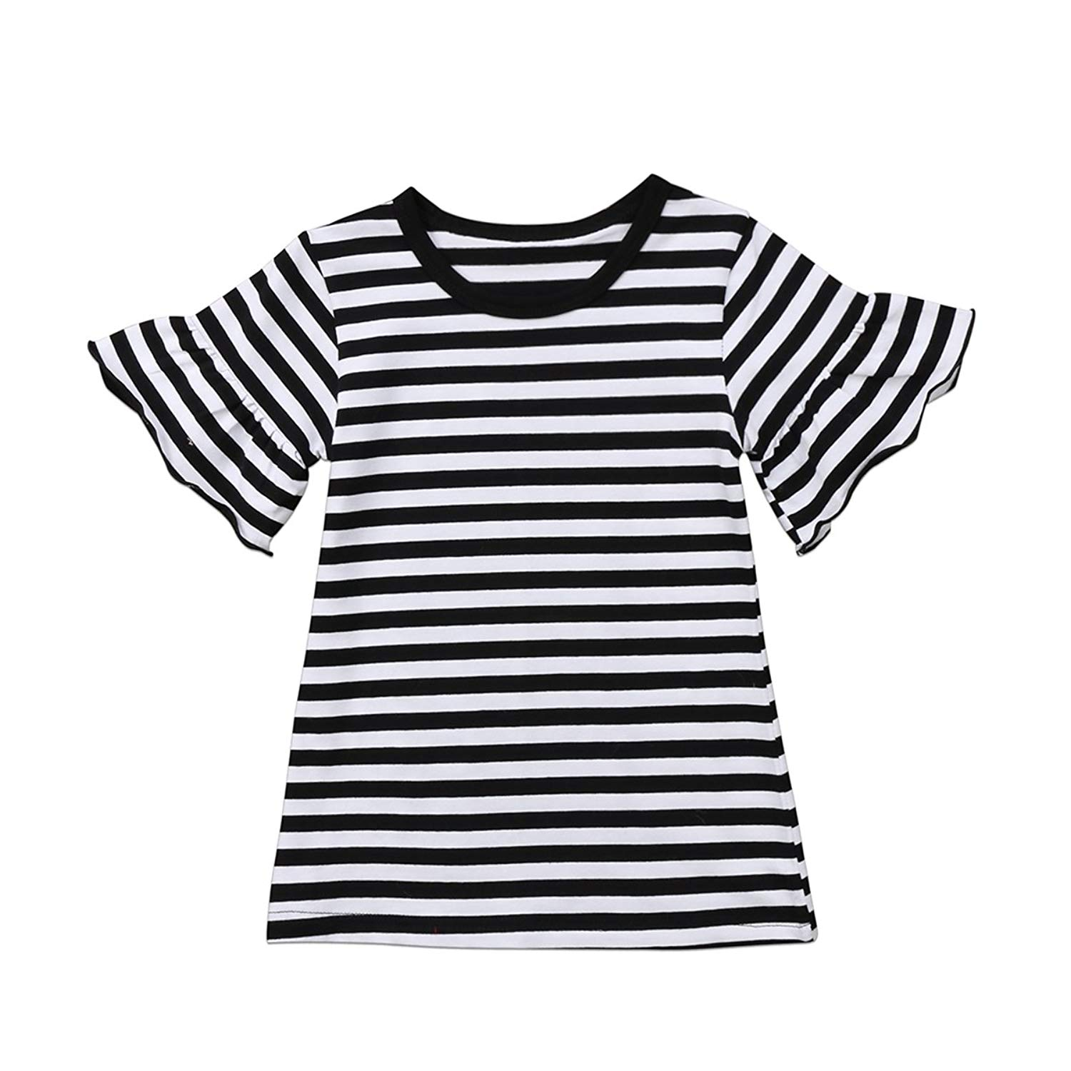 8cf180397928 Get Quotations · Toddler Baby Girl Clothes Striped T-Shirt Tee Tops Ruffles  Sleeve Dress Shirt Summer Clothes