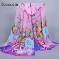 Clocolor Floral Printed Chiffon Chinese Style Scarves for Women Autumn Winter Vintage Bohemia Shawl Fashion Scarves