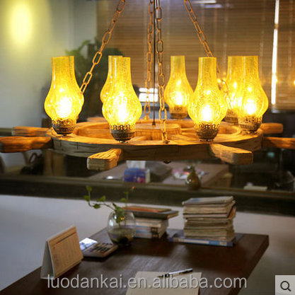 The old glass and wood indoor pendant lamp ocean styel lamp