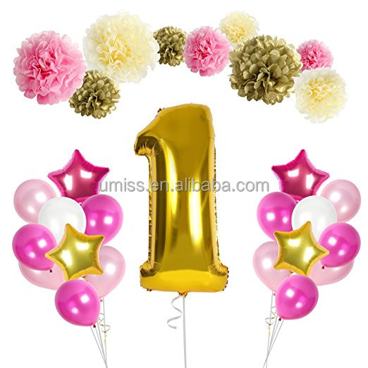 UMISS Birthday Party Balloons Kit 1st Birthday Baby Decorations, 48 Pieces, Paper Pompoms, Star And Number 1 Balloons& Ri