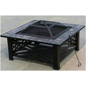 Garden outdoor backyard square patio table bbq brazier fire pit table