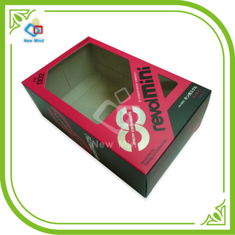 Custom made Kraft paper cardboard packaging box with a PVC window