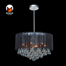6 light drum shade Black color contemporary modern chandelier with fabric shade and water drop crystal MY8896P-18 BK