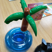 Good Price Inflatable palm tree cup holder pvc coconut tree cool floating drink holder for sale