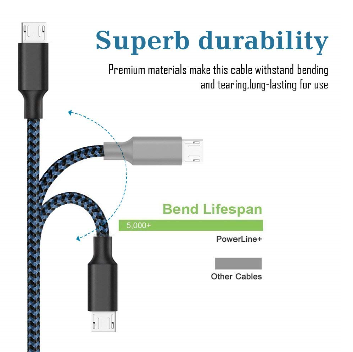 High Quality Nylon Braided Android Charger Micro USB Charging Cord for Samsung Galaxy S7 Edge/S7/S6/S4/S3 for Huawei for Xiaomi