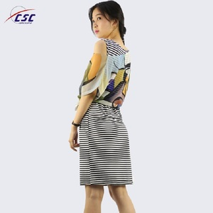 OEM ladies smart casual images of chiffon tops and latest stripes designs dress for women