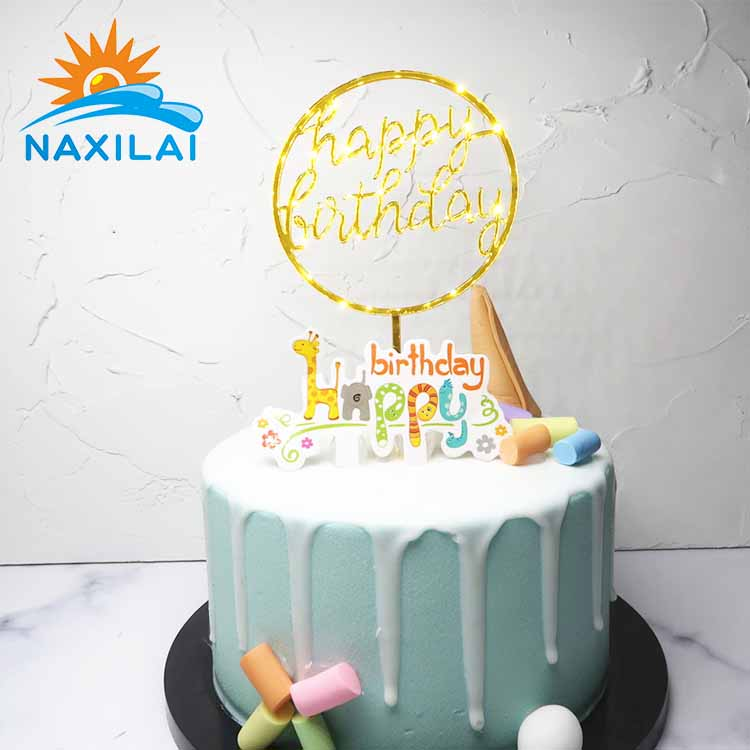 NAXILAI Crystal Acrylic Hanging Cake Stand Topper Happy Birthday For Wedding Party Decoration