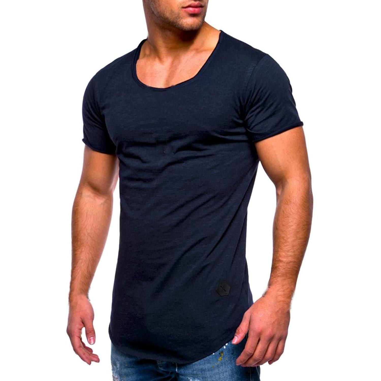 4fe467b6b84 Men Casual Shirts Tee Slim Fit O-Neck Short Sleeve