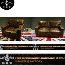 royal genuine brown leather goose feather sofa set design A126 2S
