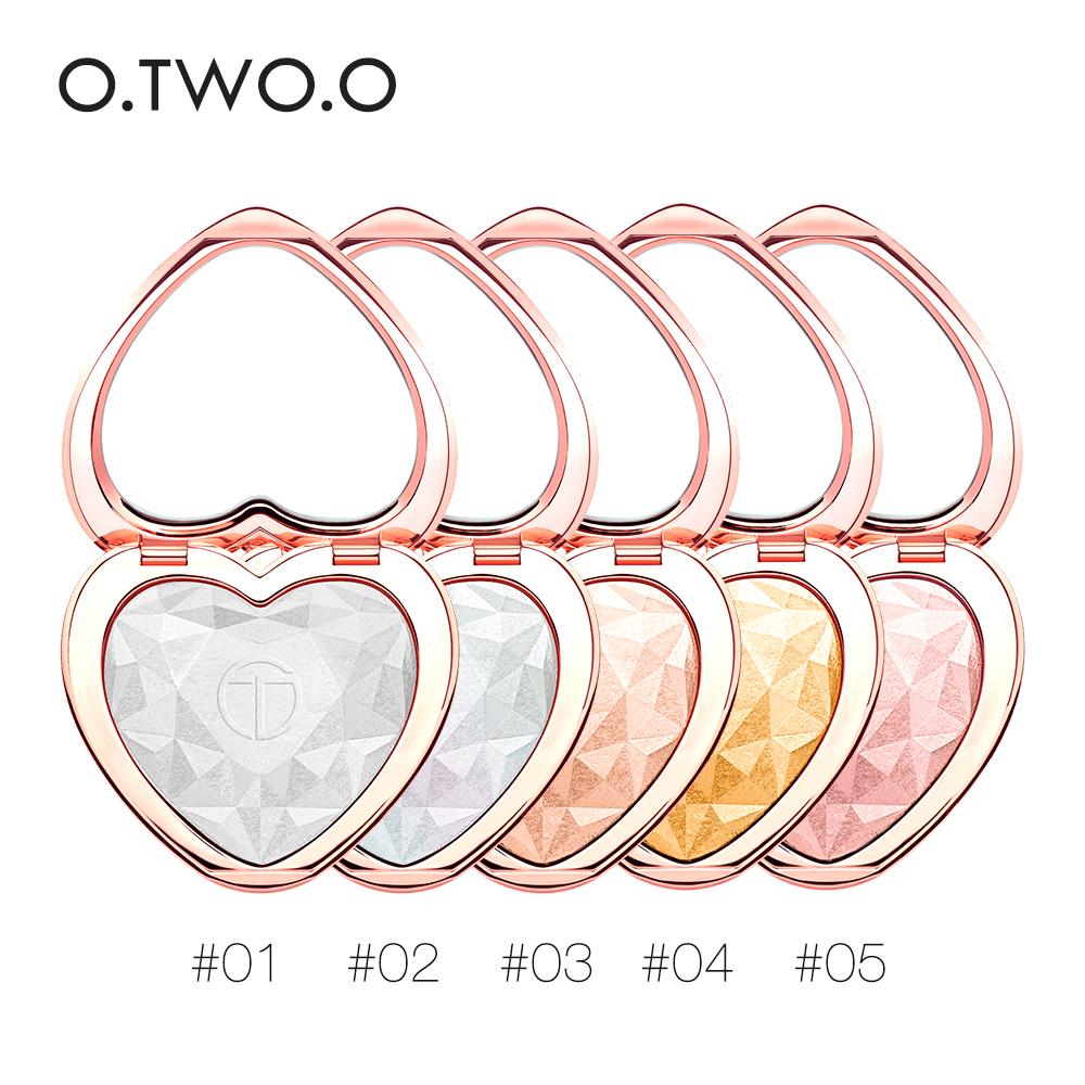 O.TWO.O Brand Professional Makeup Heart Glow Highlighter Pressed Powder, 5 colors