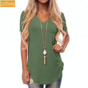 Oversized Woman Short Sleeve Basic Tee V-Neck Loose Casual Curve Hem t-shirt with company logo