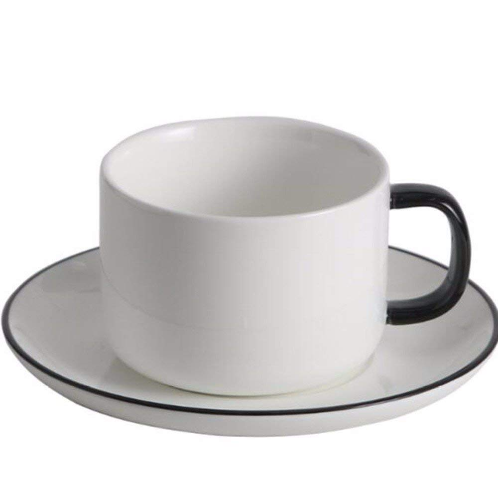SFSYDDY-European Style Coffee Cup Saucer Set Italian Drop Down A Simple Plain White Ceramic Tea Cups Of Water Cup Of Tea Cup