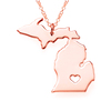 SJUSASN001 Stainless Steel Gold Plated Handcrafted USA Michigan State Outline Map Necklace for American Three Color