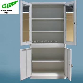 2 Tier Cardboard Storage Locker Metal Furniture/combination Storage Cabinet  Glass Door