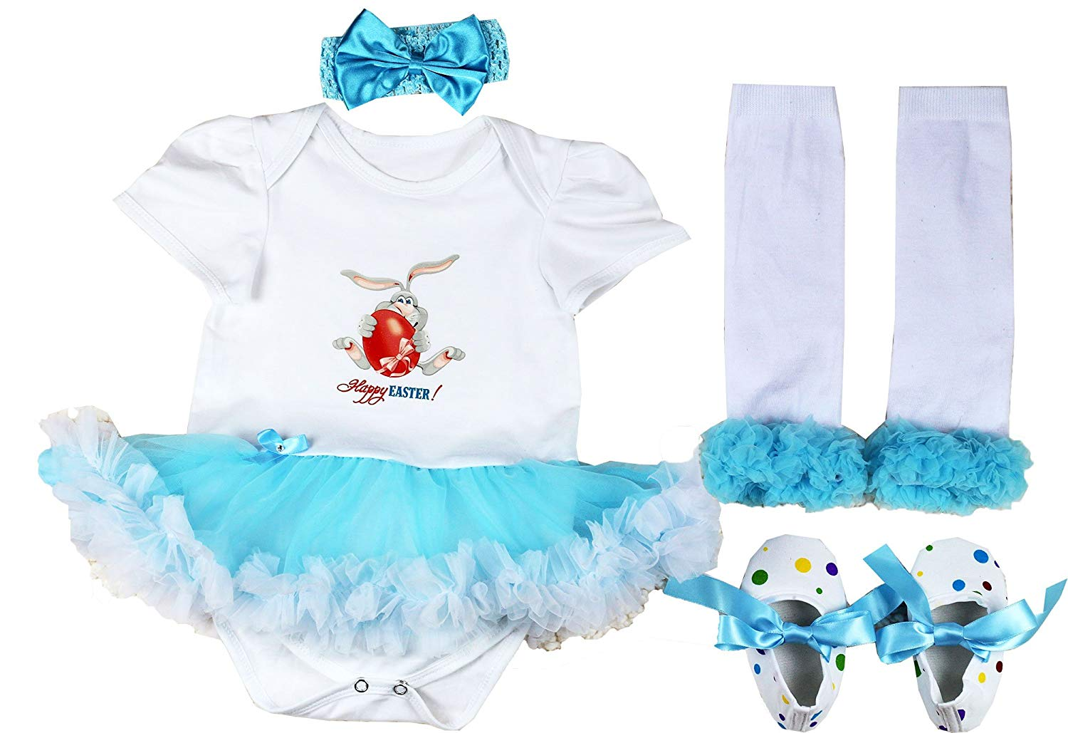 a8ca3ca8d Get Quotations · Baby Girls' 1st Easter Day Outfit Newborn Party Dress 4PCS  ...