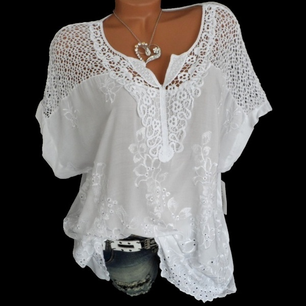 Women Fashion Loose Lace Blouse V Neck Bat Sleeves T Shirt Hollow Out Tops Plus Size S-6XL
