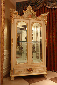 French Rococo Style Wood Carved Double Door Corner Display Cabinet ...