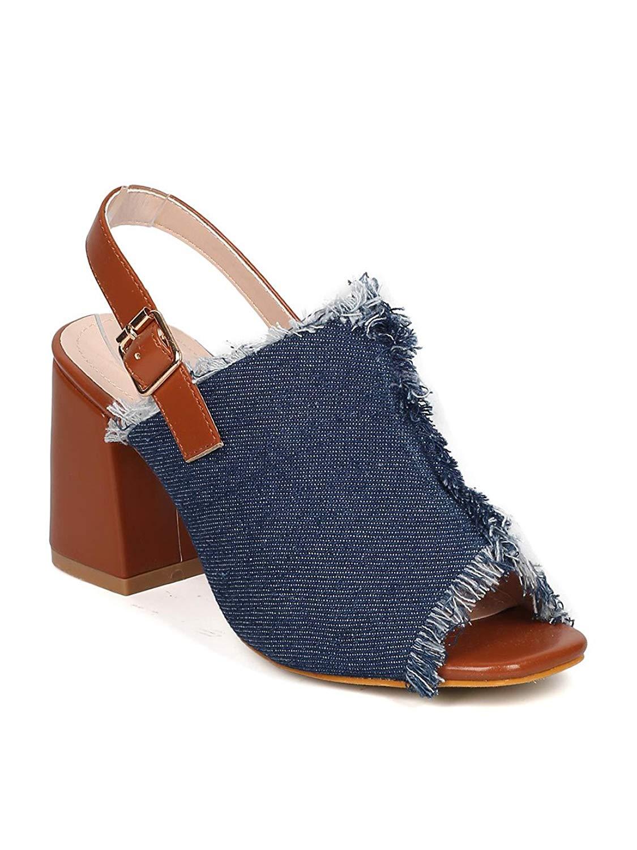 d32459a2de61 Get Quotations · Nature Breeze Women Denim Chunky Heel Mule - Dressy