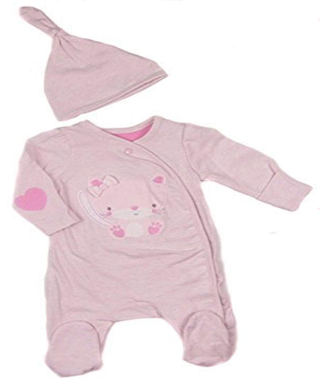 Baby Girls Sleepsuit  Babygrow and Cradle Cap OR Headband Set