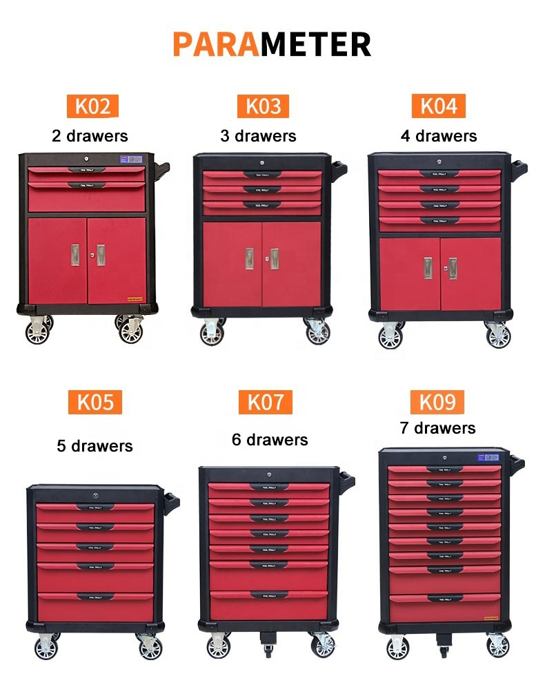 7 drawer heavy duty tool trolley/tool trolley cabinet/tool chest with tools