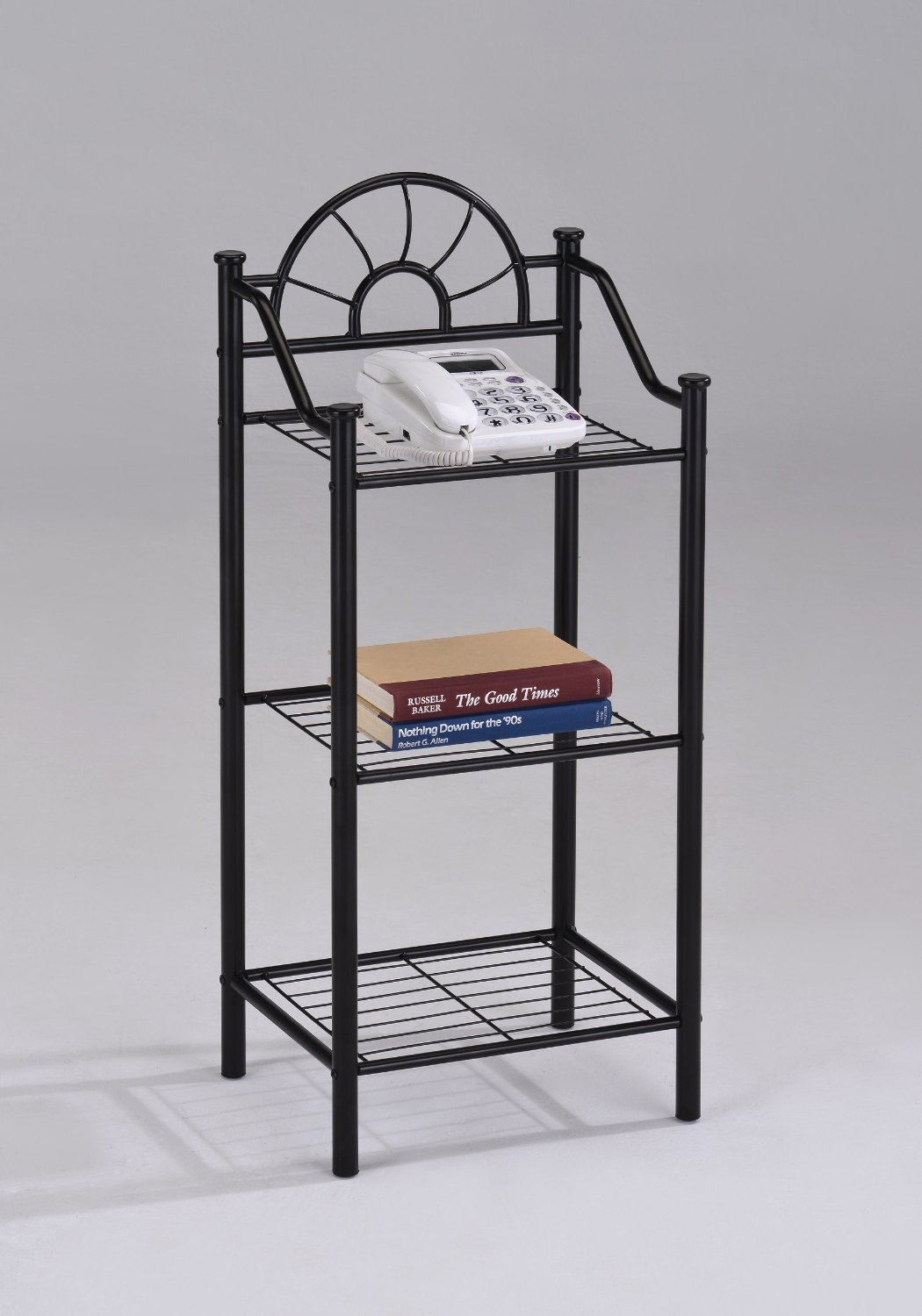 3-tier Garden Plant / Phone Stand Corner Accent Table Bookshelf, Black Finish