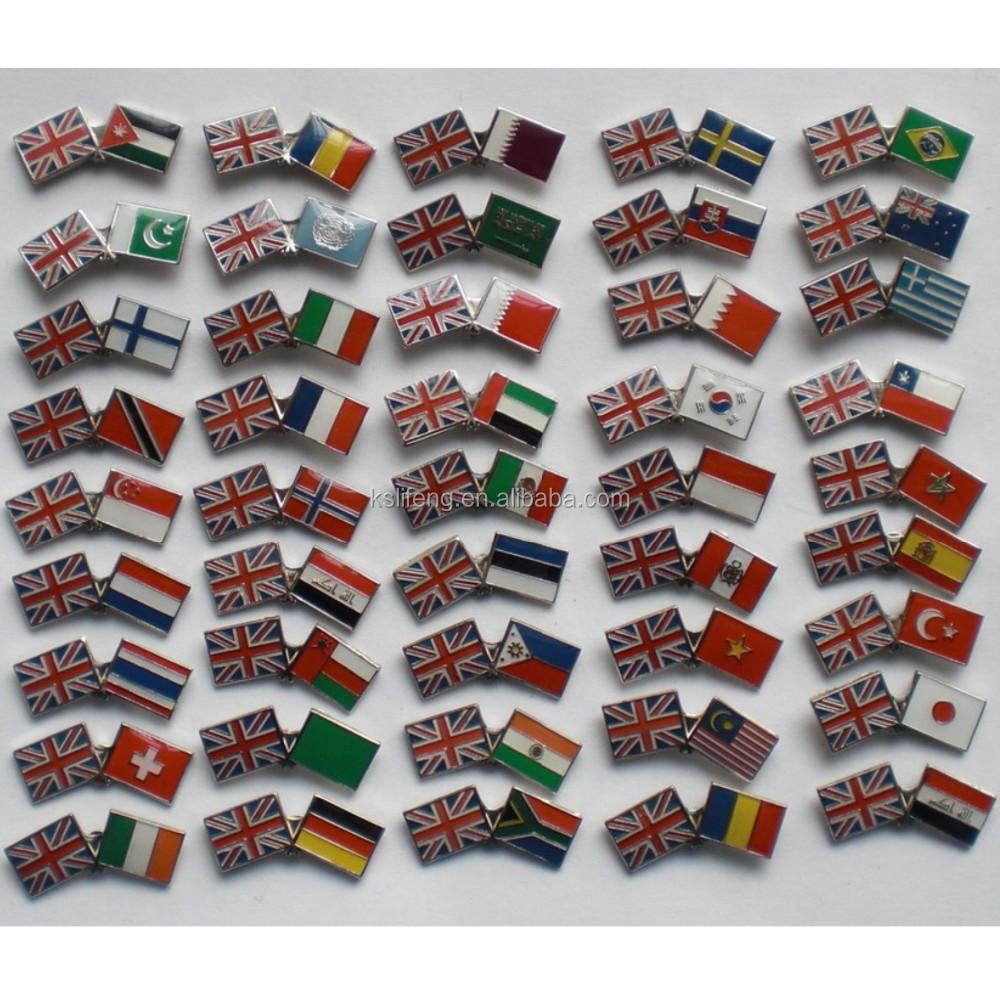 Disesuaikan Grosir Bendera Nasional Pin Massal Kerah Pin