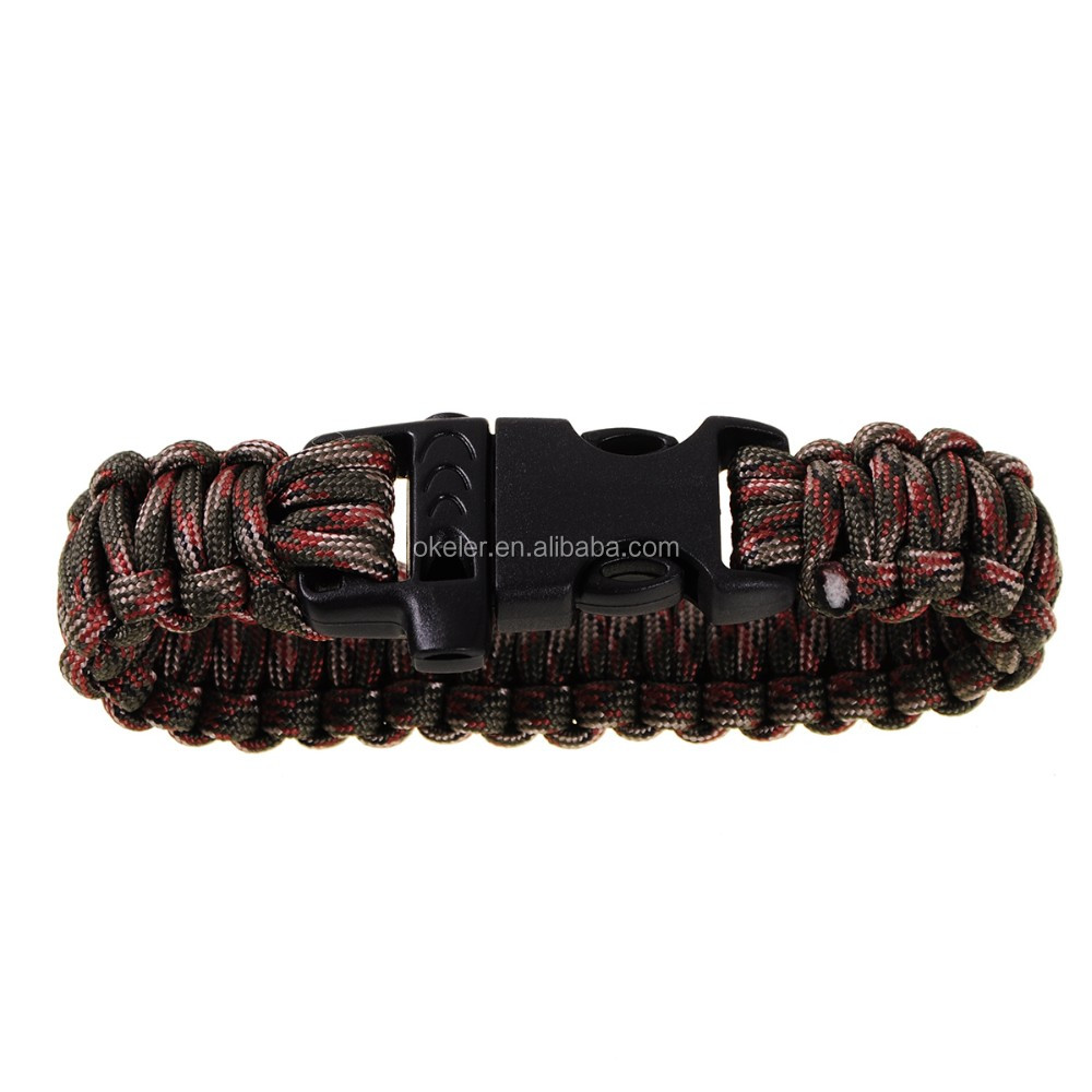 Camo Parachute Cord 550lb Camping Bracelets Survival Bracelet Kits Escape  Lanyard Pull Cord Rope