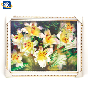 Beautiful flowers 3D picture with frame for wall hanging,home decoration.