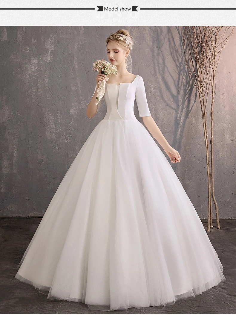 Elegant Simple Wedding Dress Bridal Gown With Open Back Half