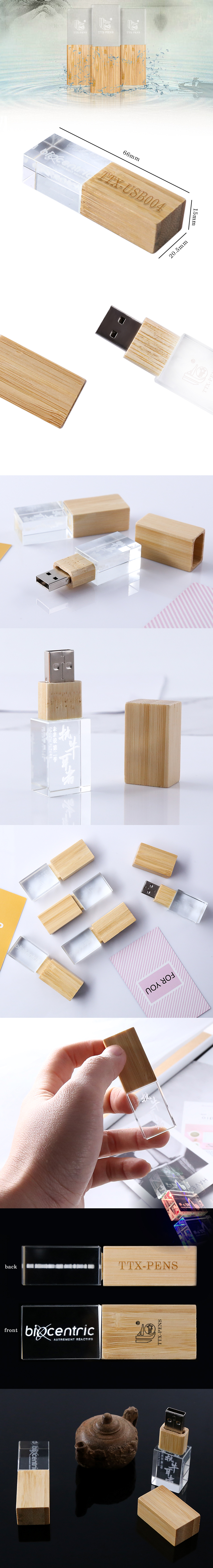 Custom 3D Logo Hout Acryl Kristal Usb 3.0 Flash Drive Usb Memory Sticks