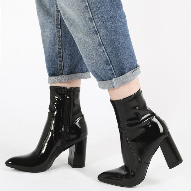 Sexy Women Shoes High block heel Metallic black leather ankle boots with pointed toe