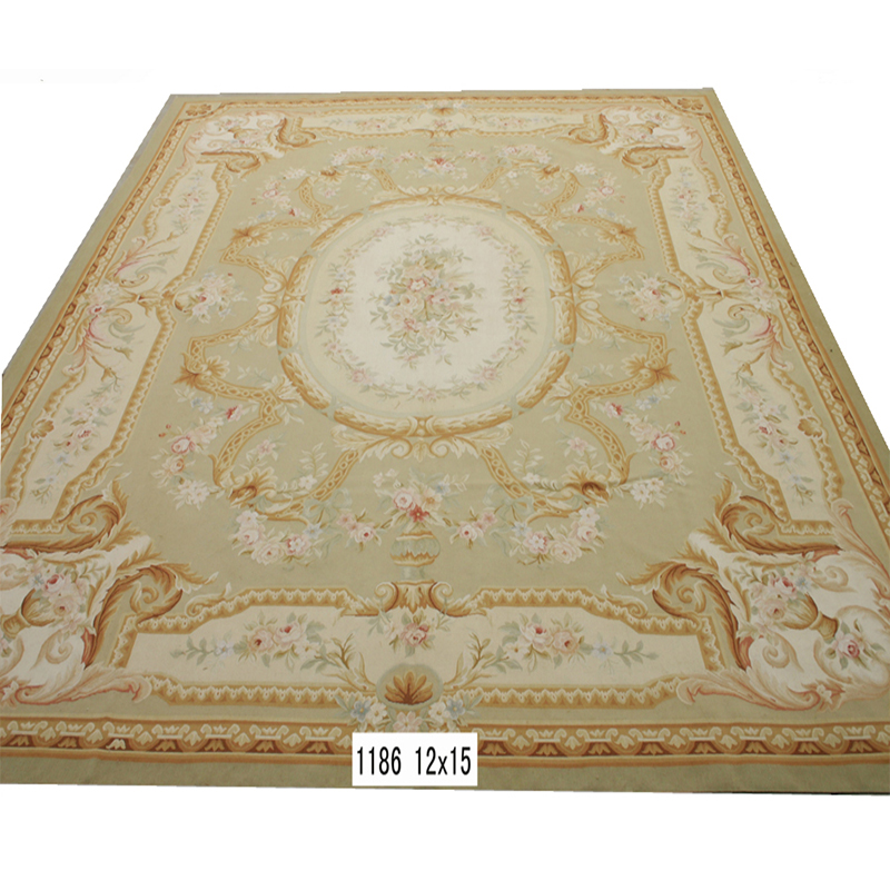 Aubusson china carpet, French style flat weave wool carpet and rug
