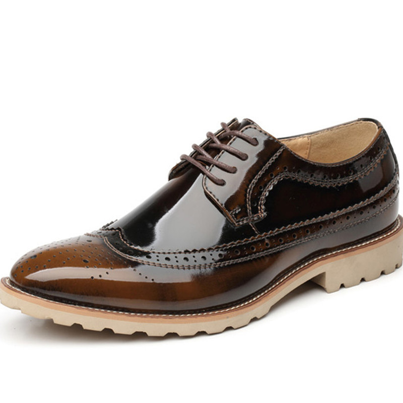 New 2015 Oxfords Shoes Men Genuine Leather Italian Bullock Social Man Dress Flat Shoes Breathable Sapatos Masculinos Brown Black